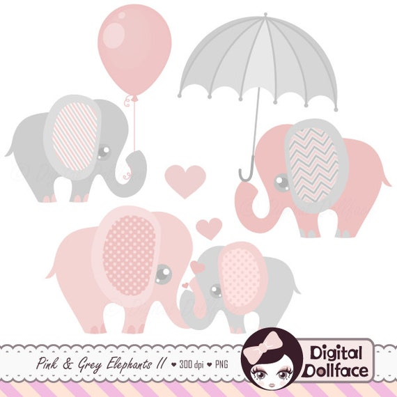 Pink and Grey Elephant Clip Art Elephant Baby Shower