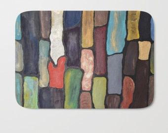 Art tiles Bath Mat, painting printed bath mat, modern home gift, blue, teal, Area Mat Stone Tiles, Welcome Mat, Floor Mat, Spa, bathroom