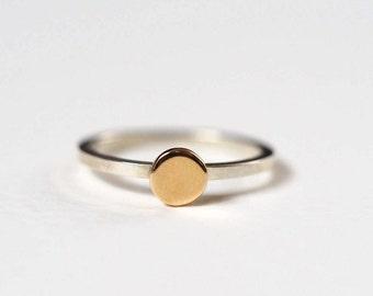 Sun Ring, Sterling Silver, 9ct Yellow Gold, Handmade Stacking Sun Ring, Gold Circle Ring, RockCakes