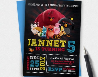 Angry Birds Invitation,Angry Birds Birthday, Angry Birds Party, Angry Birds Personalize, Angry Birds Chalkboard Birthday Invitation.