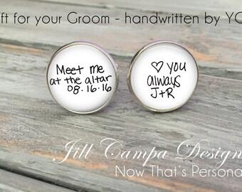 GROOM Cufflinks - Custom handwriting Cuff Links - Wedding Cufflinks - groom Cuff Links - custom cufflinks- gift for Groom on wedding day