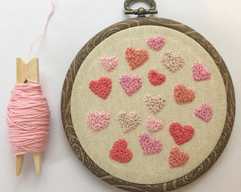 Hand Embroidery French Knot Art, Embroidered Hoop Fibre Art, Pink Love Heart Mothers Day Gift Inspired Home Decor, Wall Hanging.