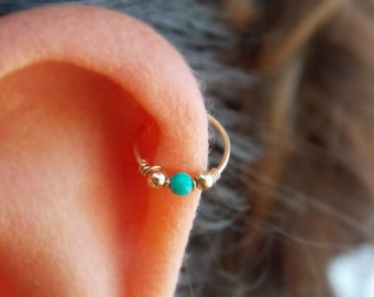 Helix earring - Cartilage earring - tragus piercing - turquoise piercing -  December birthstone - tiny hoop