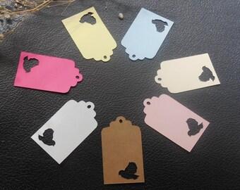 10 bird hang tag, wedding favor tag, gift tag, birthday tag,Thank you tag, Personalized tag, Custom  tag, Cut out bird tag, 1 1/2 x 2 1/2 in