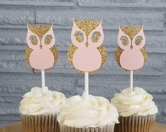 Owl cupcake toppers, owl toppers, baby shower cupcake toppers, owl baby shower