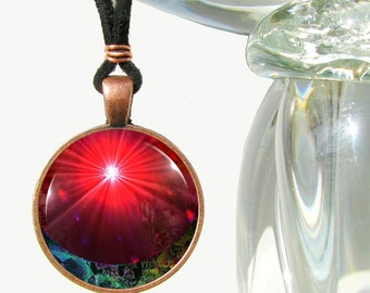 "Red Chakra Necklace, Abstract Wearable Art, Reiki Energy Pendant ""Venus Rising"""