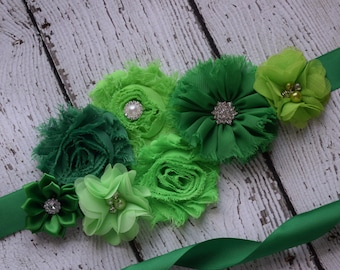 Green Sash , flower Belt, maternity sash, wedding sash, flower girl sash, maternity sash belt
