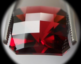 Reddish Garnet | 9.65ct | Precision Checkerboard Cut Square Shaped Stone Has Unusual Yet Gorgeous Spark Going Through The Stone