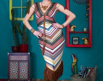 Abril - unique handmade designer dress by NYMF, colourful printed jersey dress with stripes, boho chic hippy style