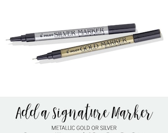 Guest Book Signing Marker, Pilot Gold or Silver Metallic Permanent Markers, 0.5mm Extra Fine Point, Marker for Alternative Guest Book