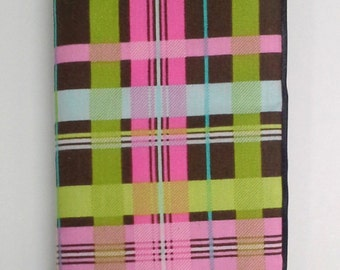 Pink Brown Green Blue Plaid Seatbelt Cover