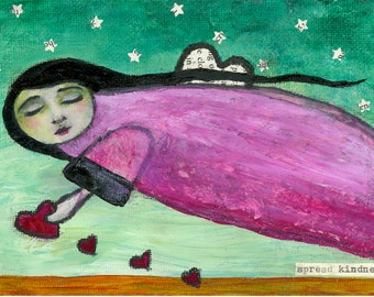 """Fine Art Print - """"Spread Kindness"""" - 8"""" x 12"""" - Whimsical Flying Angel with Hearts"""