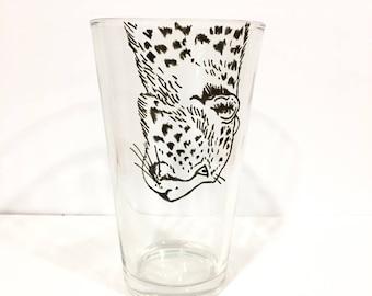 Hand Painted Animal Pint Glasses - Cheetah
