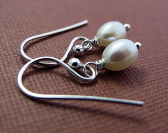 Pearl Earrings - Sterling Silver and White Freshwater Pearl