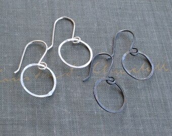 Small Sterling Hoops- small silver hoops, open circle earrings, hand forged, small wire hoops, hand hammered hoops, thin hammered hoops