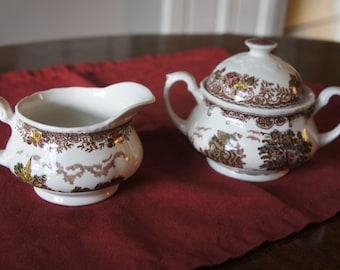 Olde England Royal Tudor Ware Staffordshire cream and sugar china set