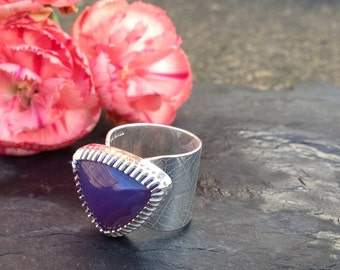 British handmade Silver ring with Blue Holly Agate stone seting.