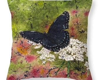 Mother's Day Gift Idea Watercolor Batik Black Blue Butterfly Queen Annes Lace Decorative Pillow