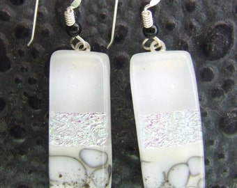 Winter's Day Dangles, Fused Glass Jewelry Handmade in NC