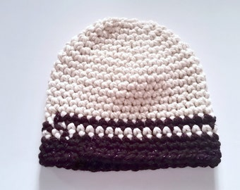 Chunky Crochet Beanie Hat Contrast 2 Stripes Made to Order custom color One size fits most warm wool winter autumn