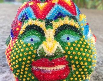 4 FACE BUDDHA HEAD,small Buddha statue,home accessories,huichol bead art,mexican art