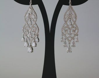 Bridal Earrings, Swarovski Crystal Earrings, Wedding Earrings, Chandelier Earrings, Statment Earrings, ,925 Sterling Silver , Bridal Jewelry