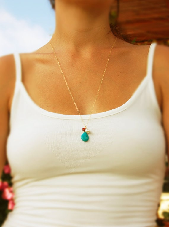 Long gold necklace gold necklace turquoise jewelry cluster like this item audiocablefo