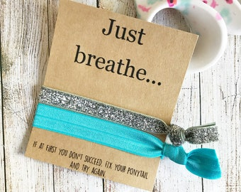 Just Breath, Yoga Birthday Party, Yoga Party Favor, Yoga Studio Gift, Girls Sports Gift, Hair Tie Favors, Girls Yoga Party, Girls Sports