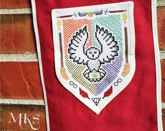 Owl Coat of Arms - Harry Potter Cross Stitch Pattern - Instant Download