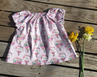 Toddler short set, Peasant Tunic and or shorts or long pant set, Hot air balloon, peasant ,short sleeve,  peasant top or set size 2T