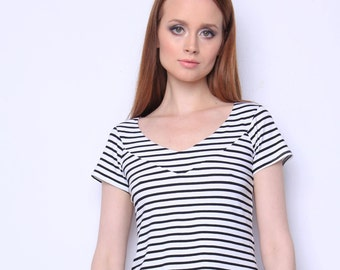 Fashionable striped blouse is perfect for creating stylish look