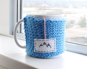 Mountains Mug Cozy, Knit Coffee Mug Cozy, Knitted Coffee Sleeve, Cup Cozy, Coffee Mug Cozy, Coffee Cup Cozy, Personalized Womens Gift
