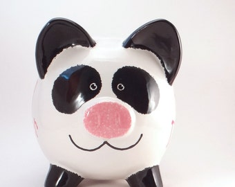 Panda Piggy Bank - Personalized Piggy Bank - Panda Bear Bank - Ceramic Bear Bank - Jungle Bank - Baby Gift - with hole or NO hole in bottom