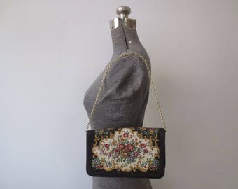 Vintage '60s/'70s Walborg Floral Tapestry Convertible Envelope Clutch w/ Gold Chain, Made in Macau