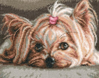 """Dog - symbol of 2018 year. Cross Stitch KIT for children room """"Pet""""  (Counted cross stitching). doggy, Yorkshire terrier, sweet, cute"""
