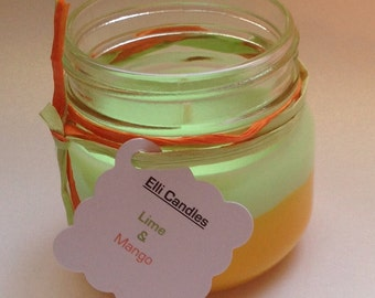 Handmade scented candle with the scent of lime and mango...our favourite scent in one of our favourite jars!