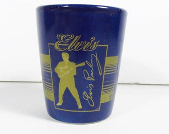 Dark blue Elvis Presley shot glass gold gild official epe