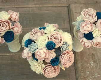 Sola flower bouquet, brides wedding bouquet, navy blue and blush pink wedding flowers, dusty rose bouquet, eco flowers, wood flower bouquet