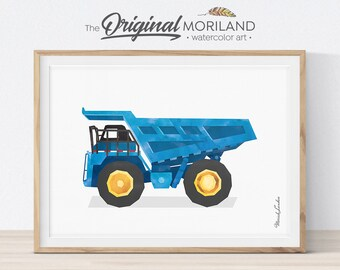 Dump Truck Print, Dumper Truck Wall Art, Construction Print, Toddler Boy Room Decor, Dump Truck Birthday Party, Boy Bedroom Art, Printable