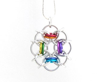 Rainbow Pendant, Chain Maille Jewelry, Multicolor Pendant, Rainbow Necklace, Jump Ring Jewelry