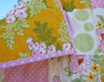 SALE  Heather Bailey Nicey Jane Pink  Green Tangerine  Quilt crib toddler Bed or lap sized Baby Quilt Nursery Church flowers pink dots