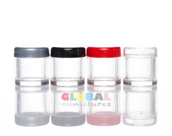 Dollhouse Miniatures Clear Plastic Mini Cookies Jar with Lid