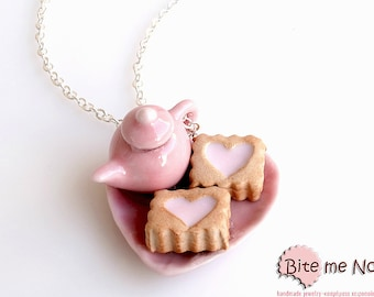 SCENTED Heart Biscuits on a Plate with Teapot Necklace Mini Food Jewelry - Miniature Food Jewelry, Polymer Clay, Foodie, Kawaii