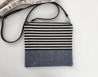 Stripes & Denim Crossbody Purse // Crossbody Bag  // Purse // Handmade Purse // Shoulder Bag