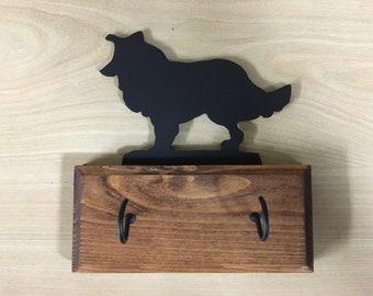 Border Collie style 2 Dog Breed wood base Key Holder / Leash Holder