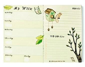Weekly planner pad, school agenda planner, school supplies, weekly schedule pad, homeschool calendar, 7 day office planner, weekly meal plan