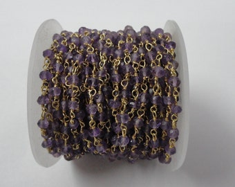 Natural Amethyst Rondelle Faceted Beads Rosary Chain, Amethyst Rondelle Faceted Gold Plated Rosary Chain, Handmade Amethyst Rosary Chain