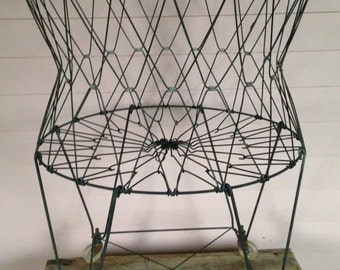 Vintage Metal Wire Laundry Basket,  Collapsible Laundry Room Hamper - Allied Prod Co, Benicia, Calif
