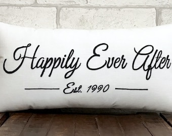 30%OFF Happily Ever After Custom Date Pillow Personalized Wedding Love Anniversary Gift in All Sizes And Color
