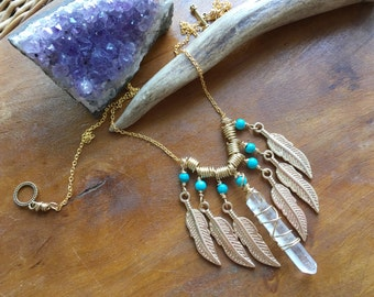 tribal necklace, raw crystal and feather charm necklace, feather fringe necklace